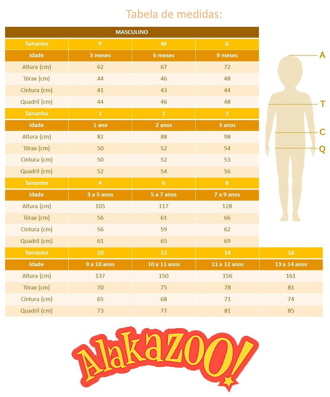 Camiseta Infantil Masculina Inverno Preta Wild Alakazoo: Tabela de medidas