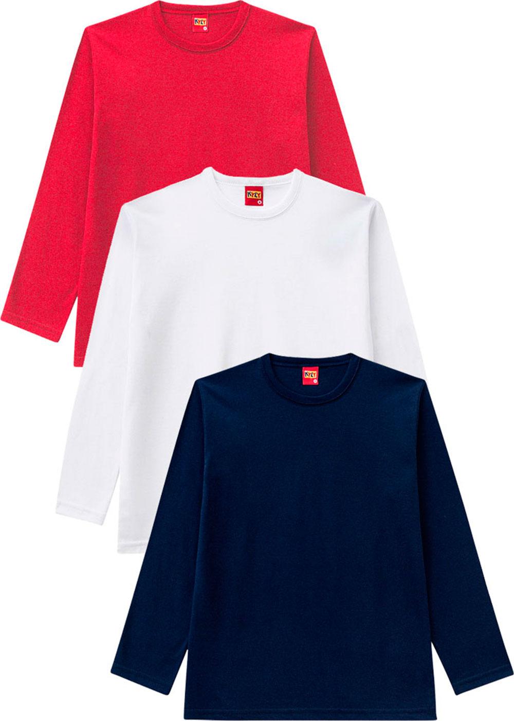 Camiseta Infantil Masculina Kit 3 Vermelho - Kyly