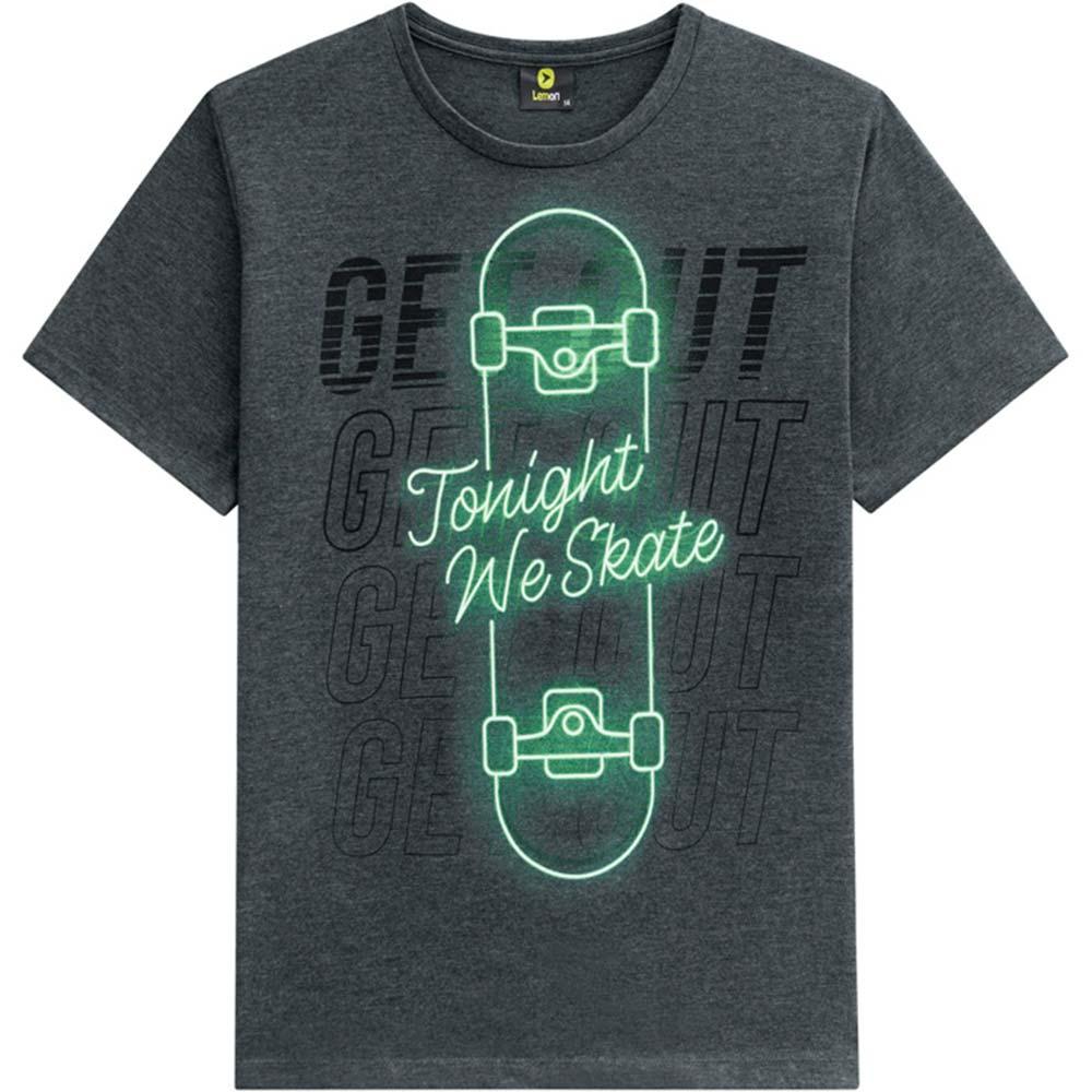 Camiseta Infantil Masculina Verão Cinza Skate Lemon