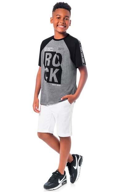 Camiseta Infantil Masculina Verão Cinza Rock Lemon