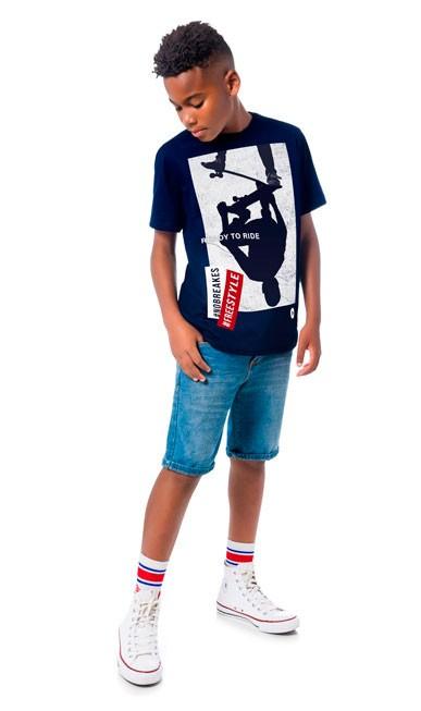 Camiseta Infantil Masculina Verão Azul Ride Lemon