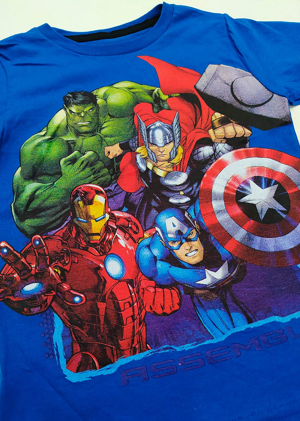 Camiseta Infantil Masculina Verão Azul Vingadores Marvel