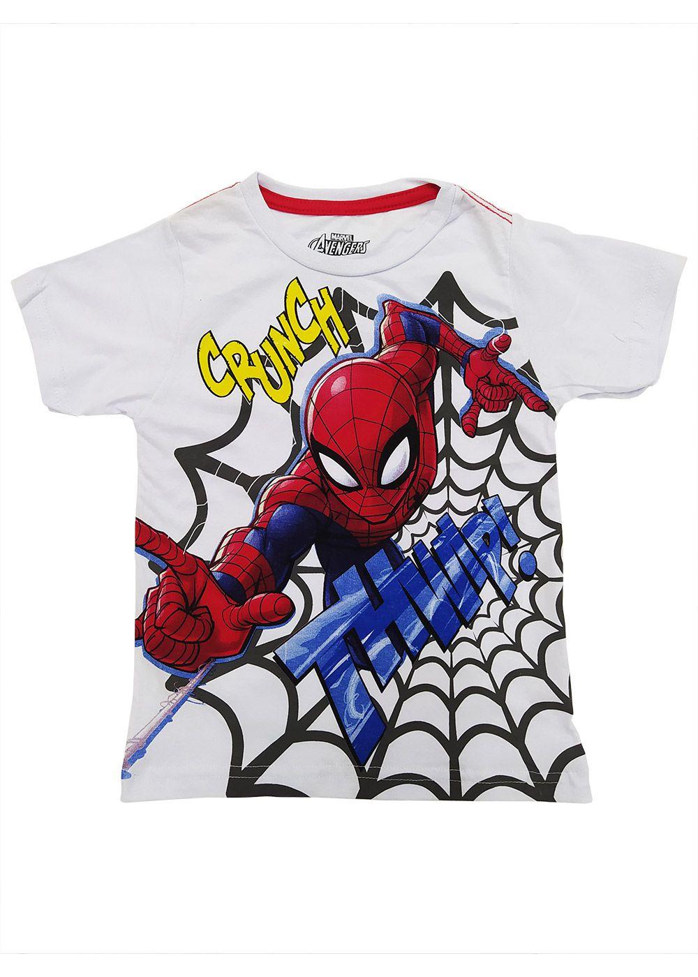 Camiseta Infantil Masculina Verão Branca Homem Aranha Marvel