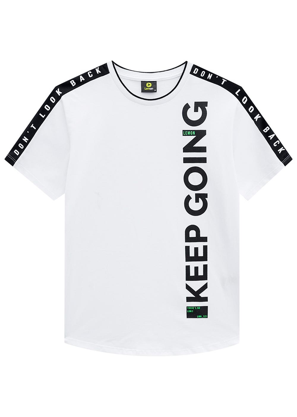 Camiseta Infantil Masculina Verão Branca Keep Lemon