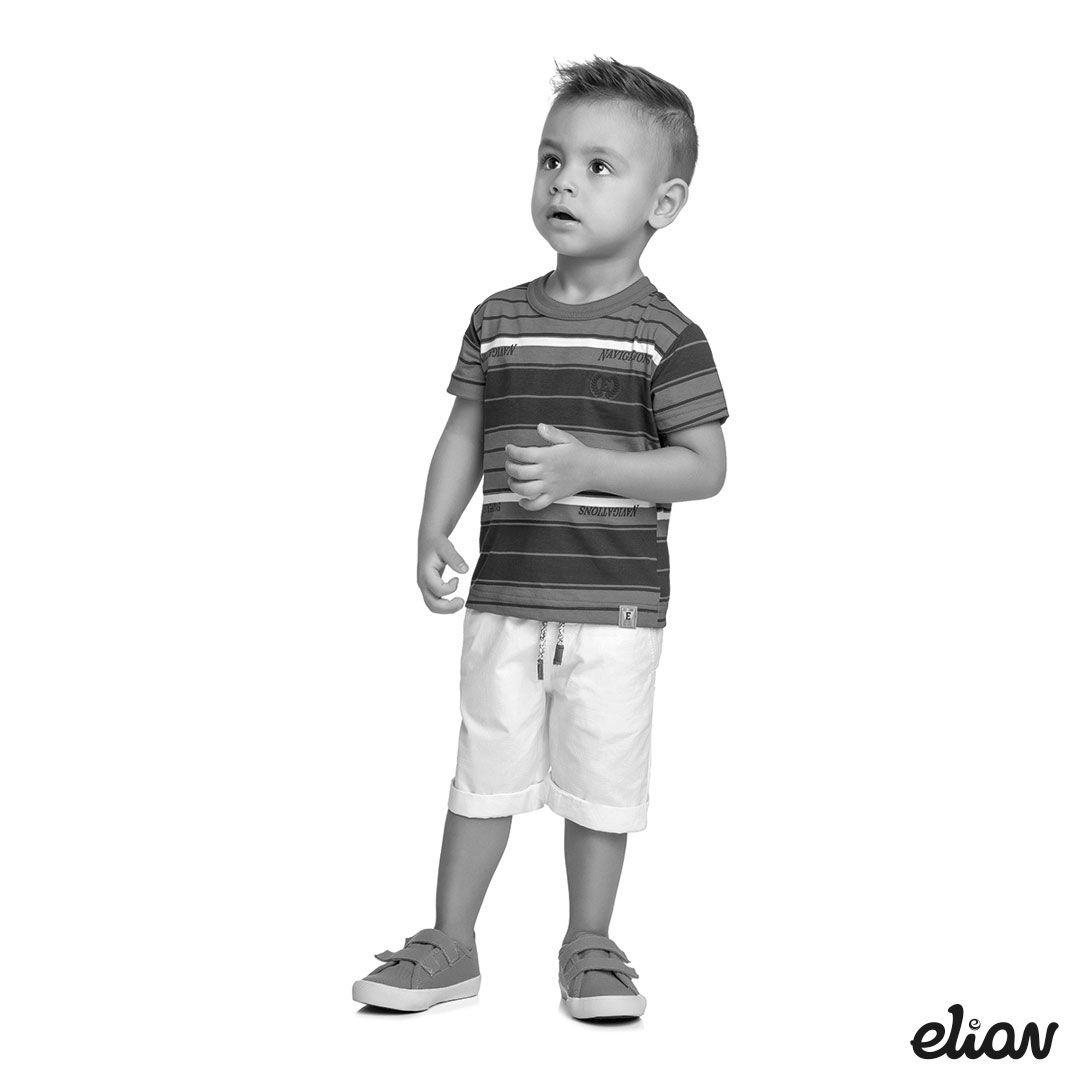 Camiseta Infantil Masculina Verão Branca Listras Elian