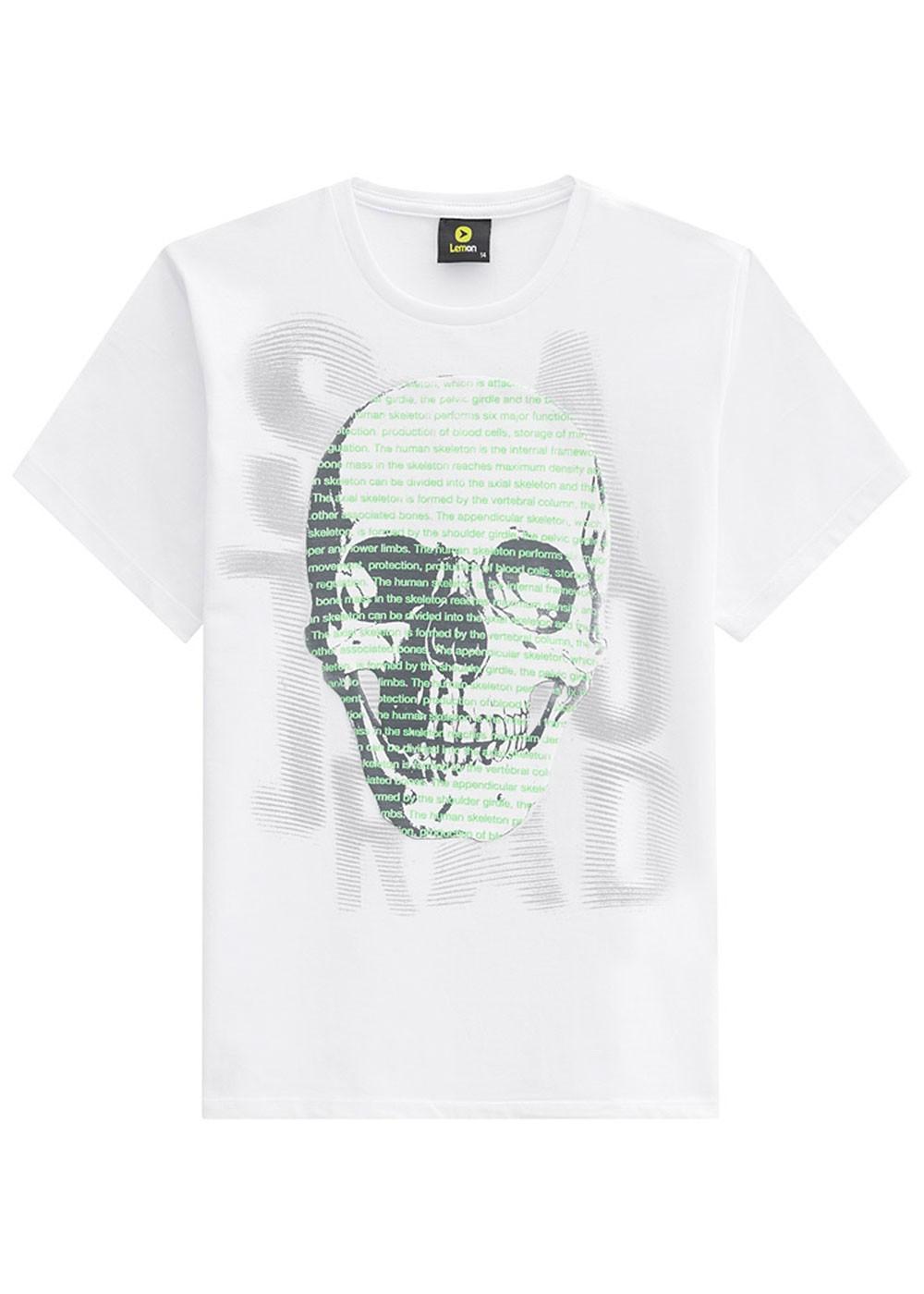 Camiseta Infantil Masculina Verão Branca Skull Lemon