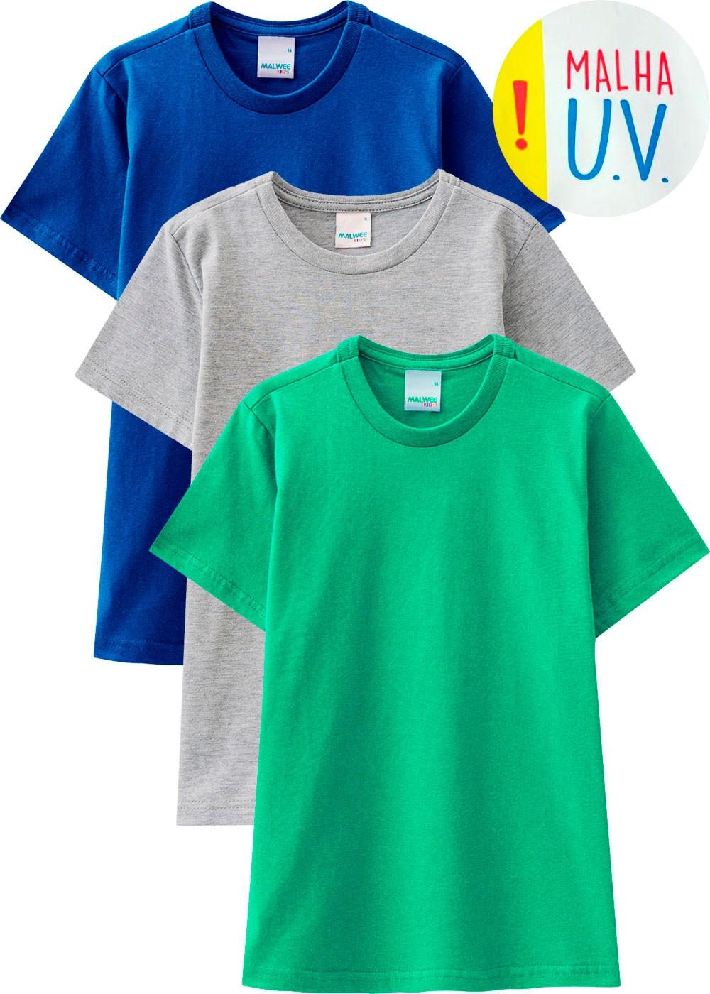 Kit com 3 Camiseta Infantil Masculina na Malha UV - Malwee