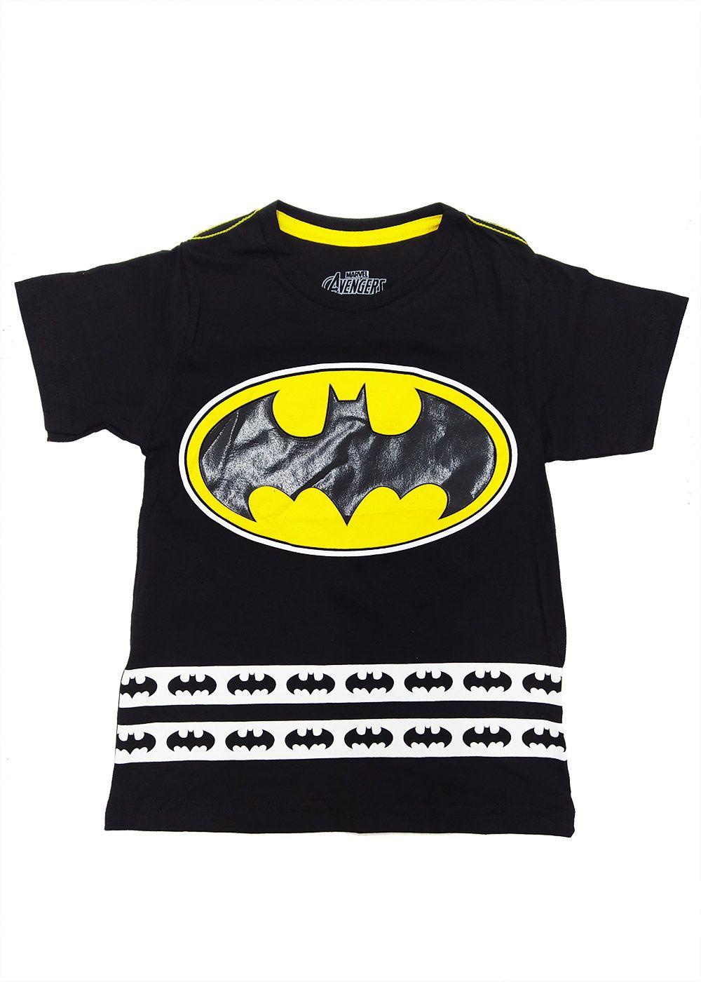Camiseta Infantil Masculina Verão Preta Batman Marvel