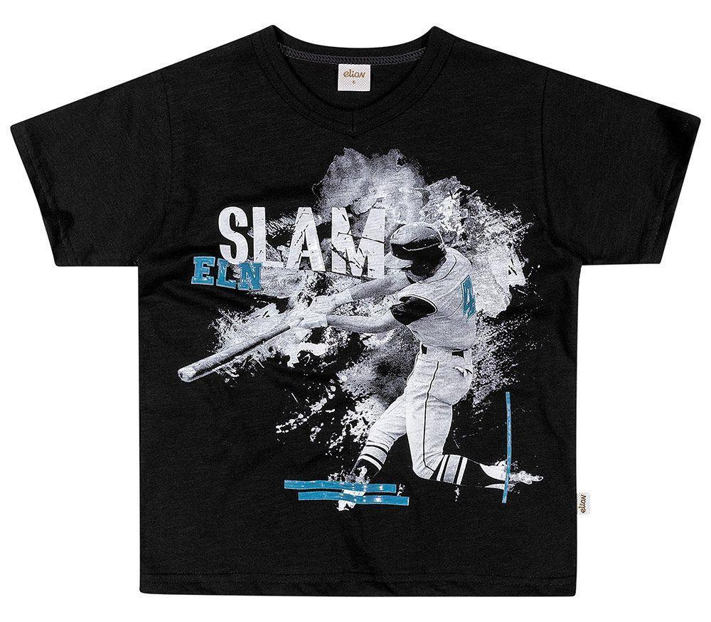 Camiseta Infantil Masculina Verão Preta Slam Elian