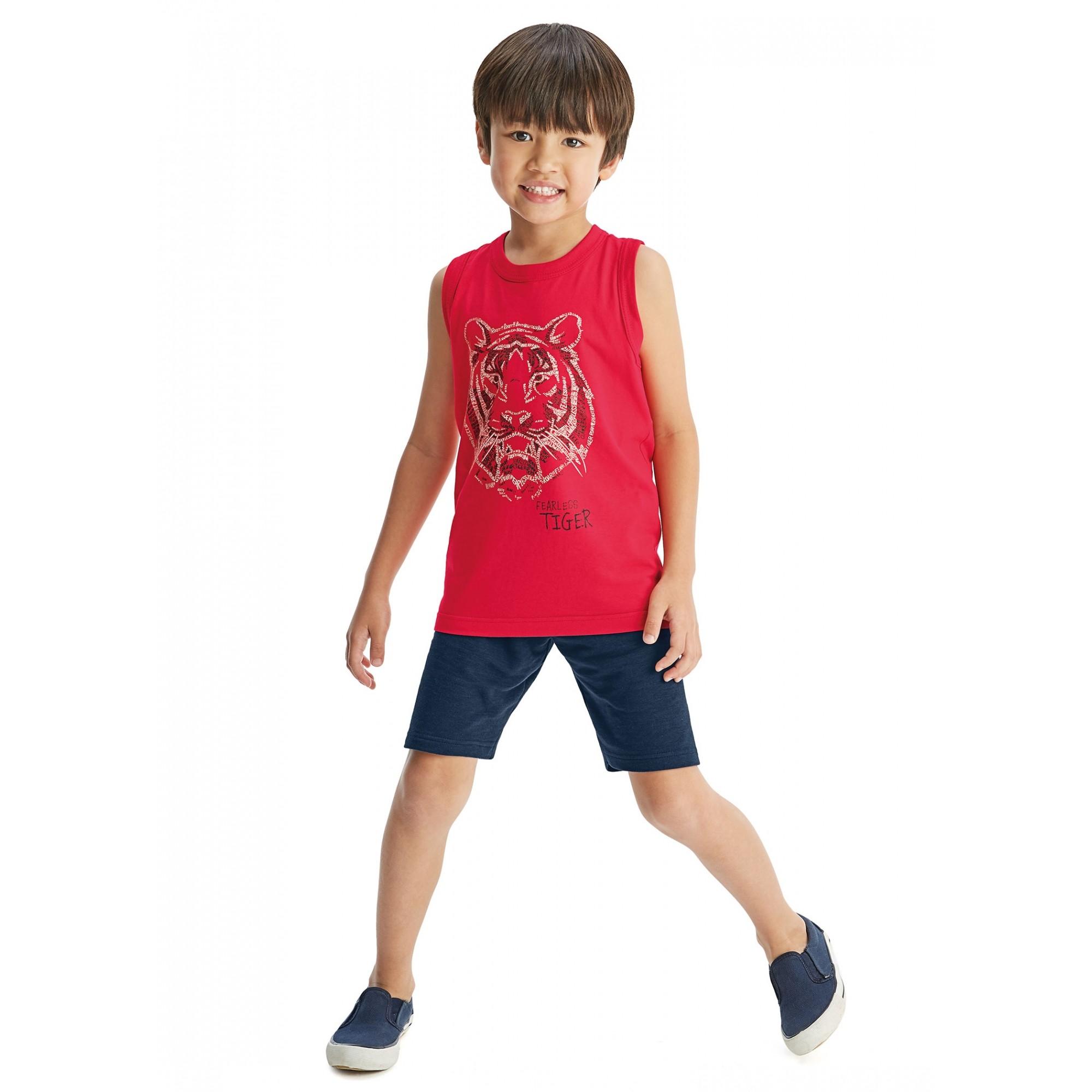 Camiseta Infantil Masculina Verão Vermelha Kit 3 Malwee