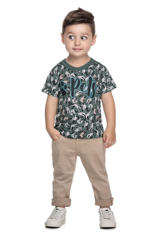 Camiseta Infantil Masculina Verão Verde Pets Elian