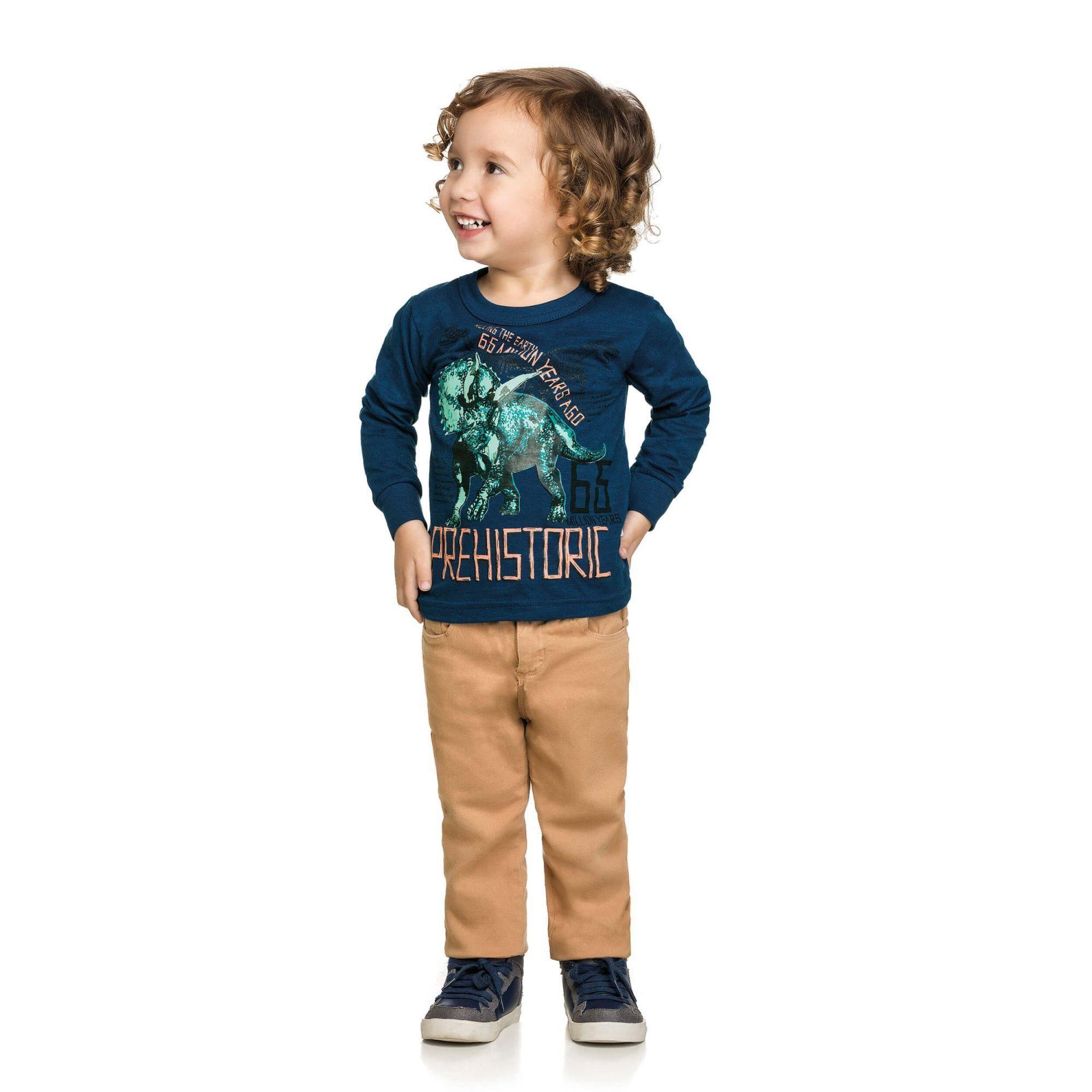 Camiseta Infantil Masculina Inverno Azul Marinho Prehistoric Elian