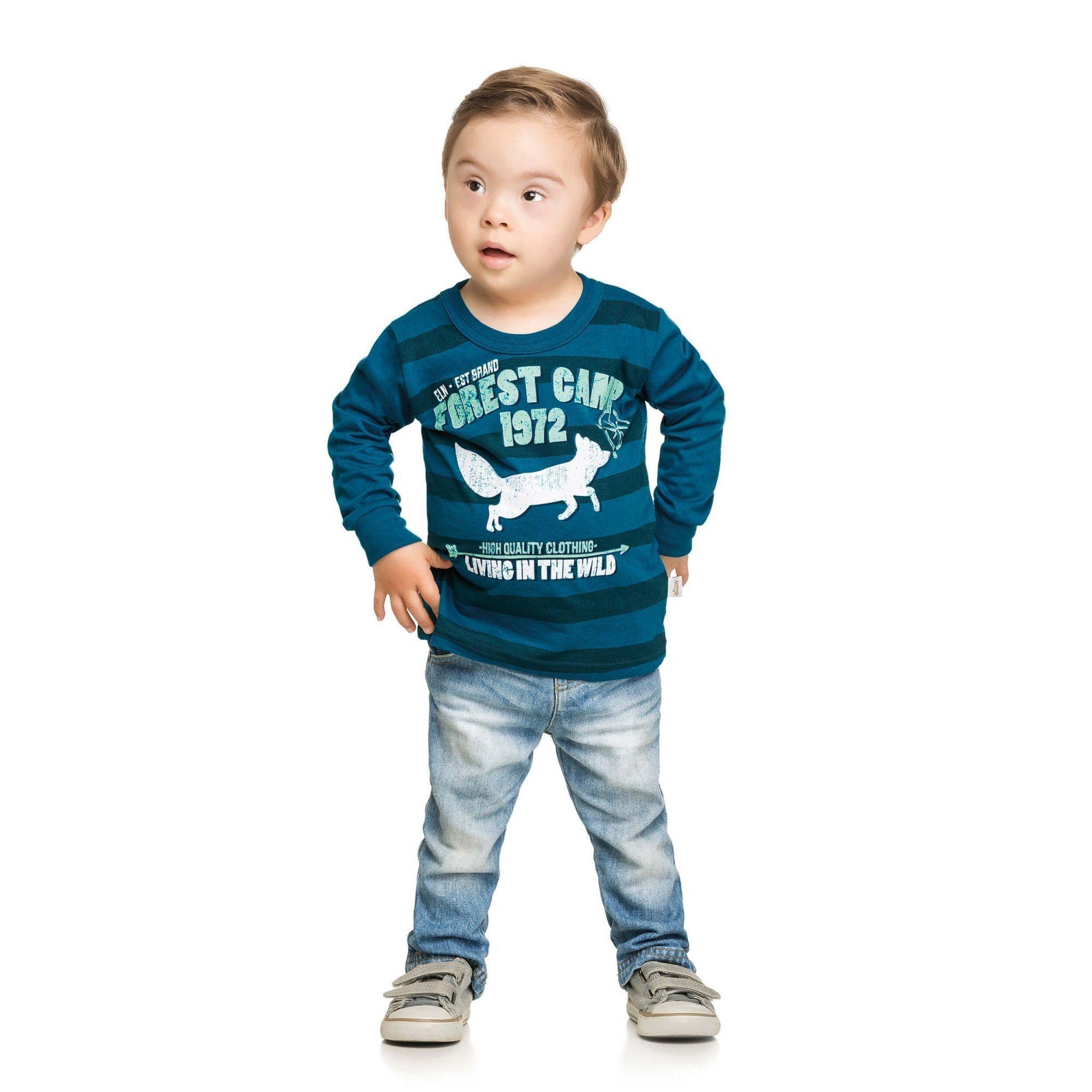 Camiseta Infantil Masculina Inverno Azul Forest Camp Elian