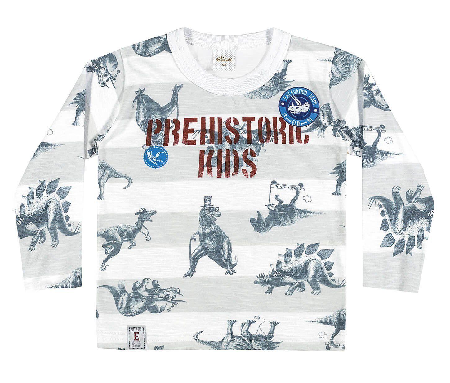 Camiseta Infantil Masculina Inverno Cinza  Prehistoric Elian