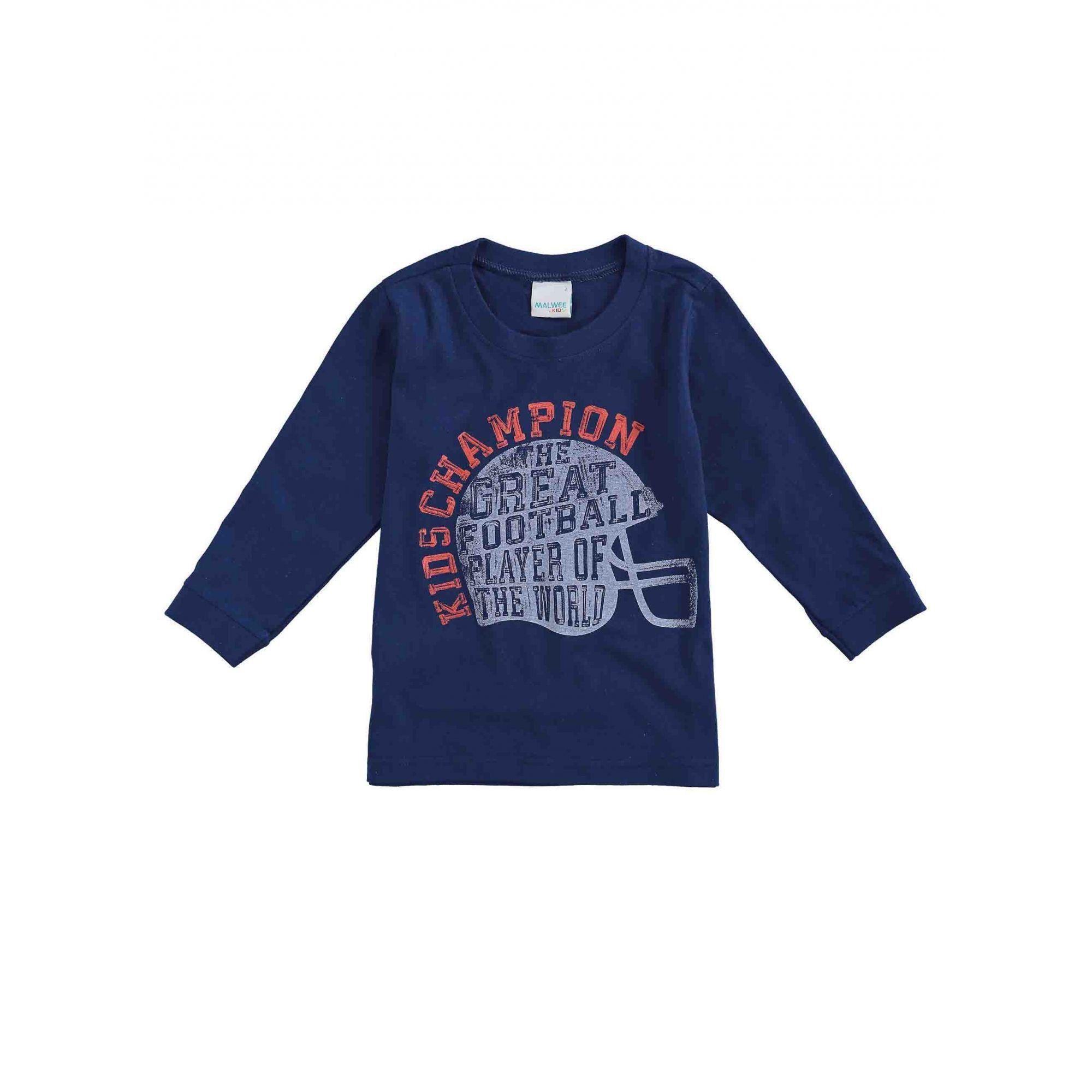 Camiseta Infantil Masculina Inverno Azul Kids Champion Malwee