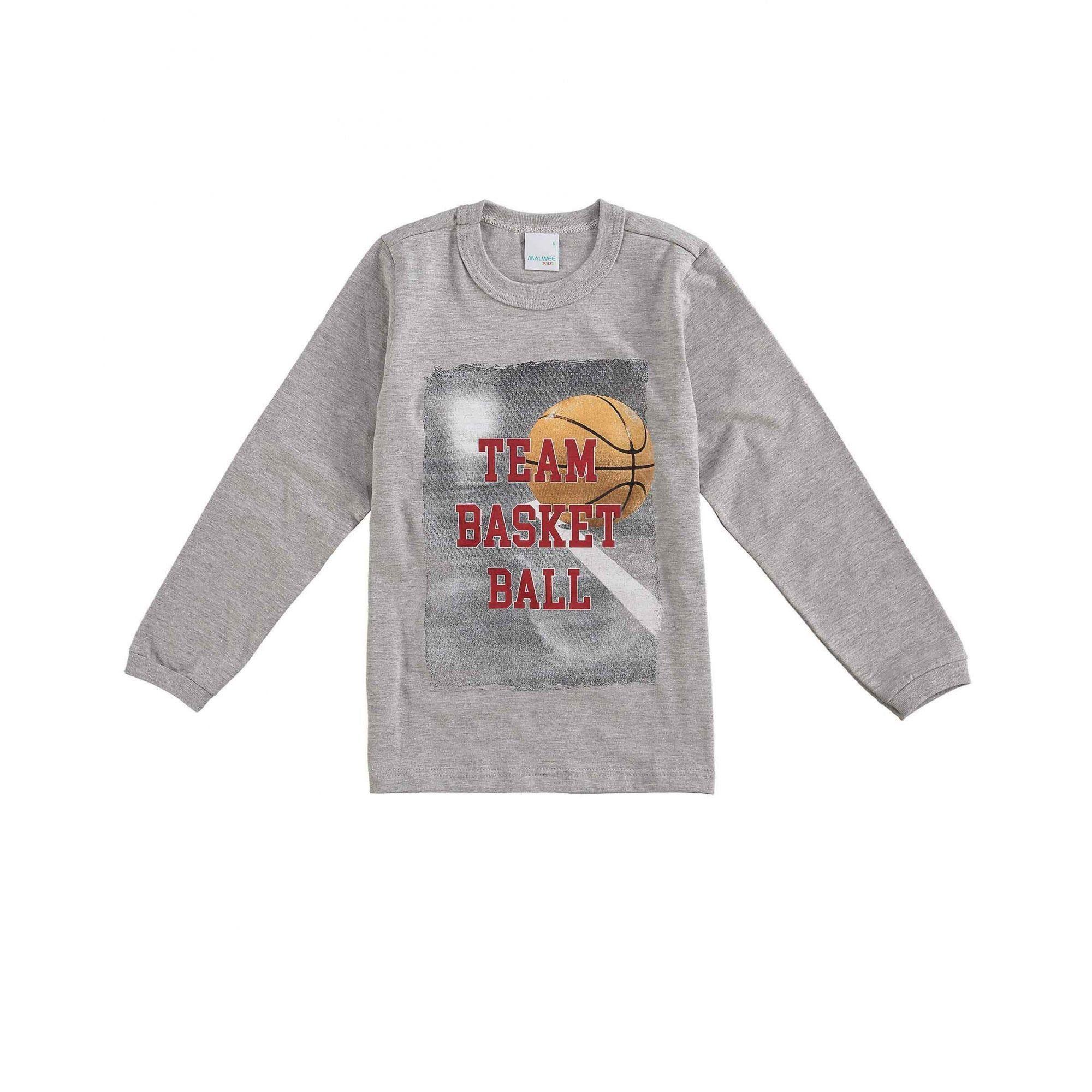 Camiseta Infantil Masculina Inverno Cinza Mescla Ball Malwee
