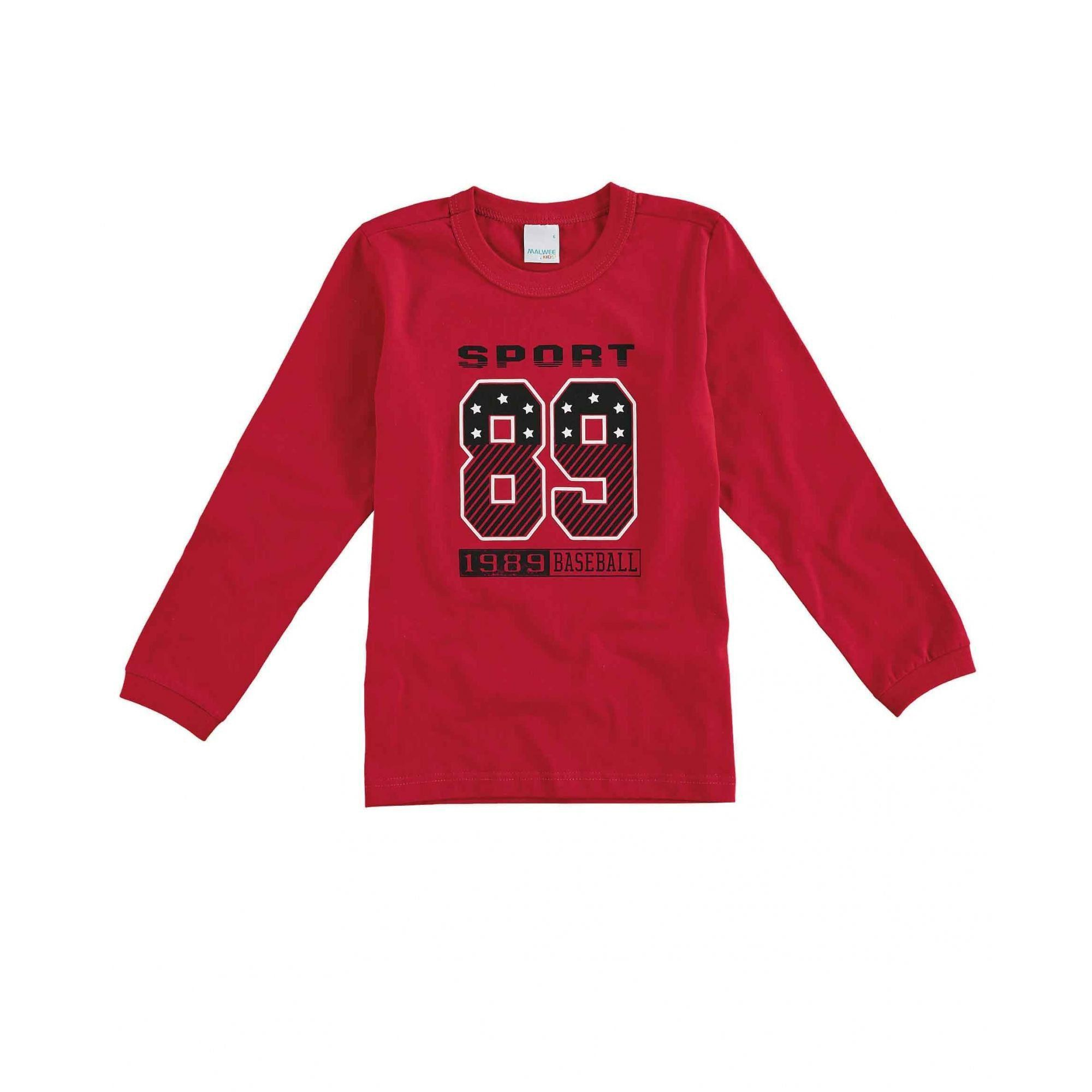 Camiseta Infantil Masculina Inverno Vermelha Sport Malwee