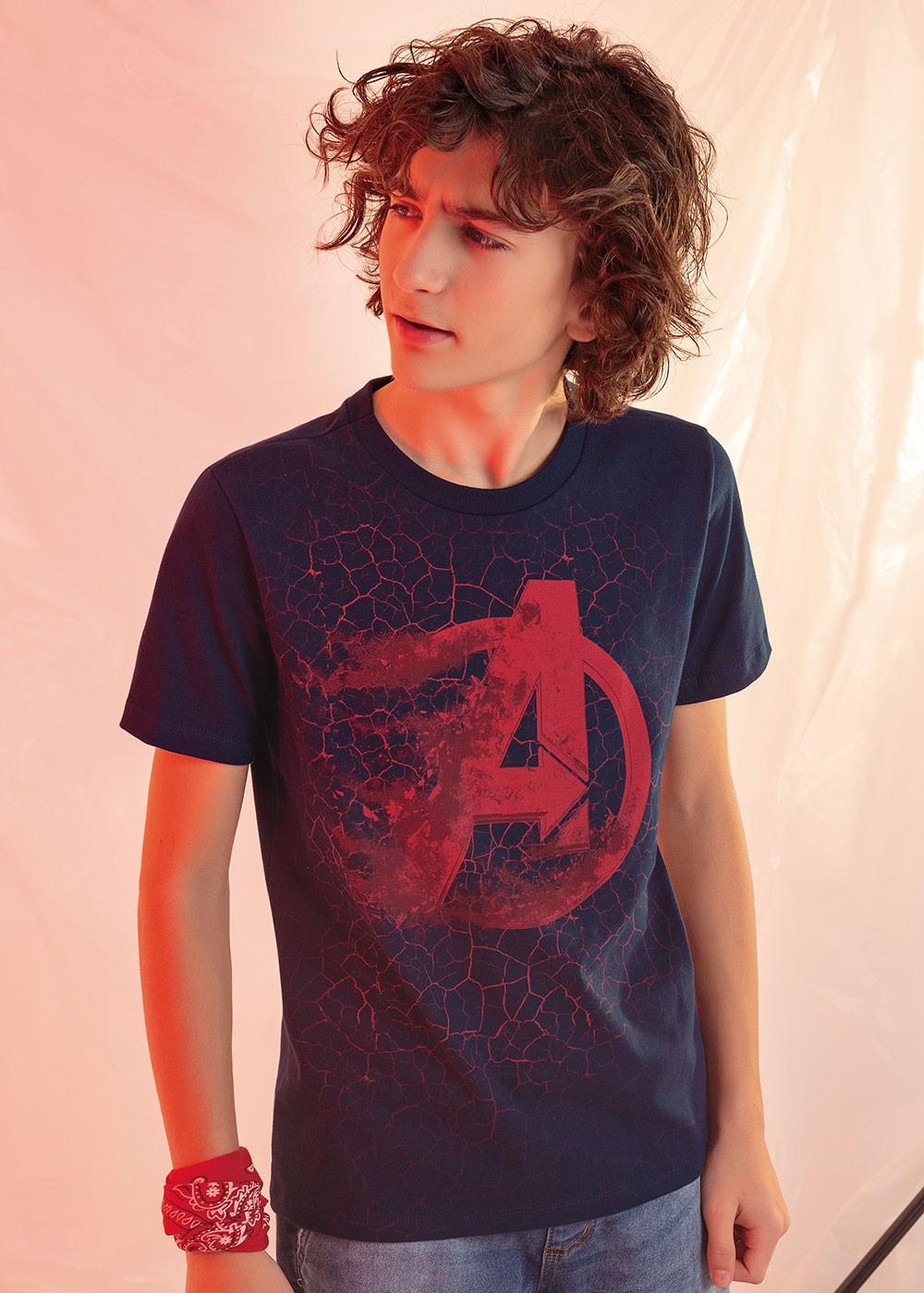 Camiseta Teen Masculina Verão Azul Avengers Cativa