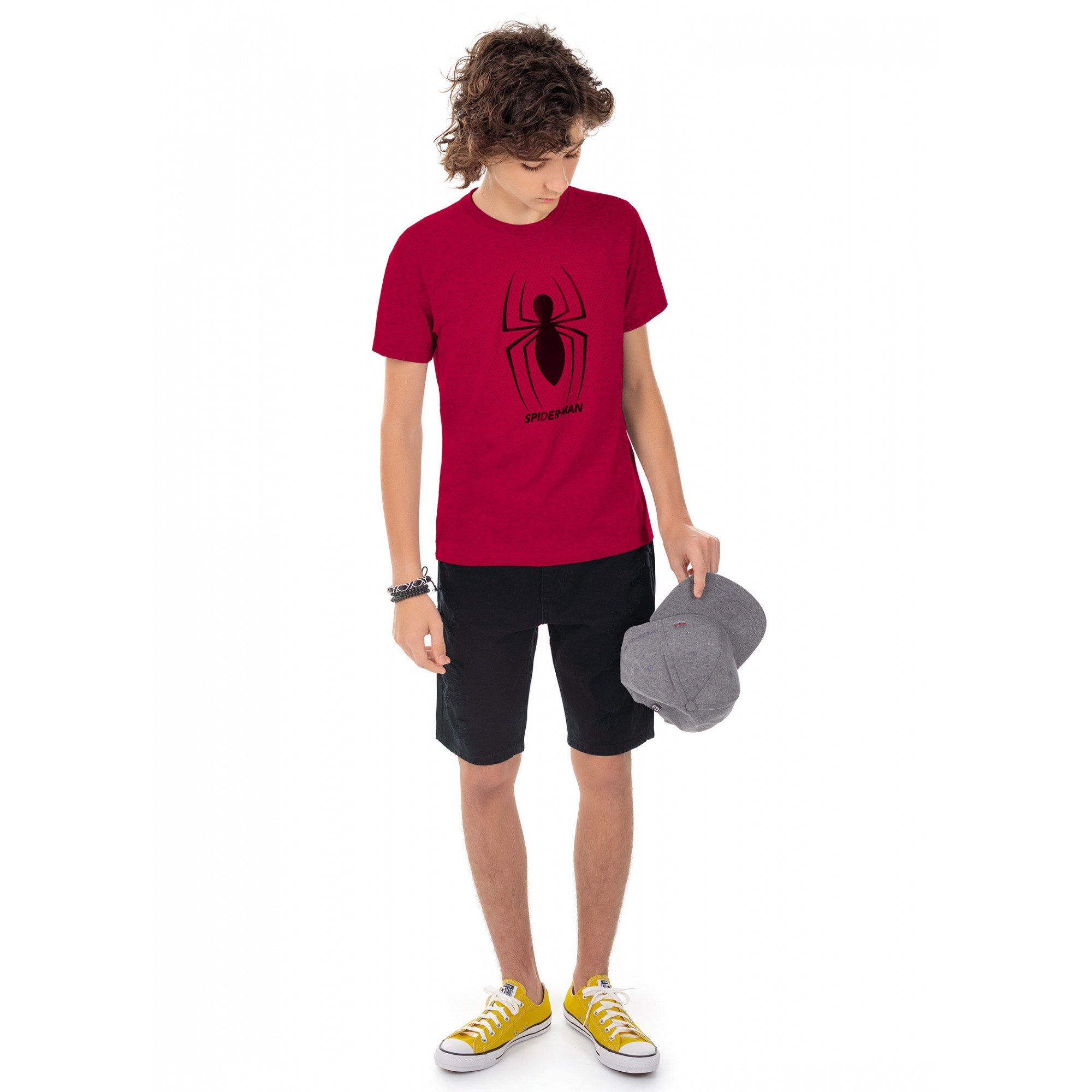 Camiseta Teen Masculina Verão Vermelha Spiderman Cativa