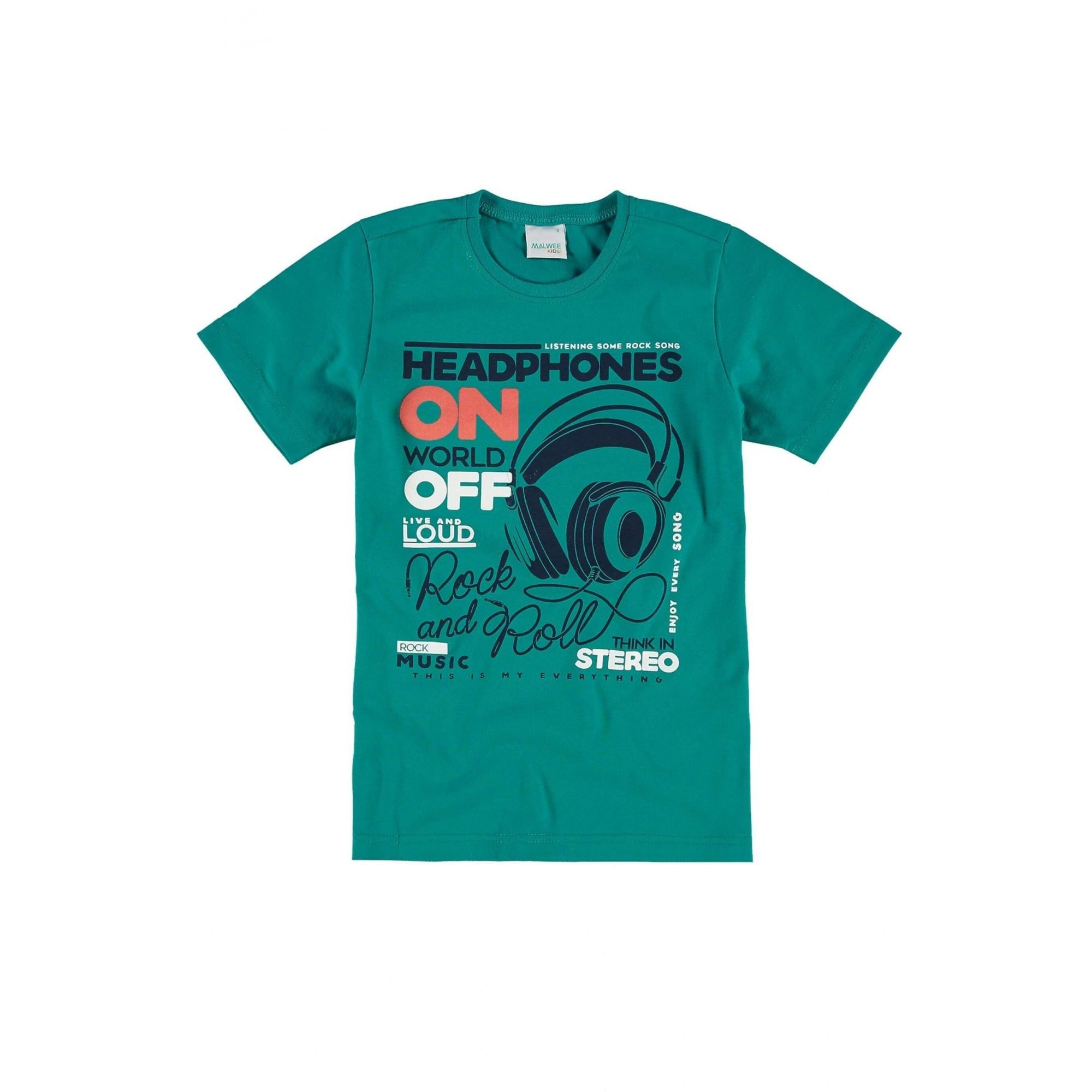 Camiseta Infantil Masculina Verde Headphones Malwee