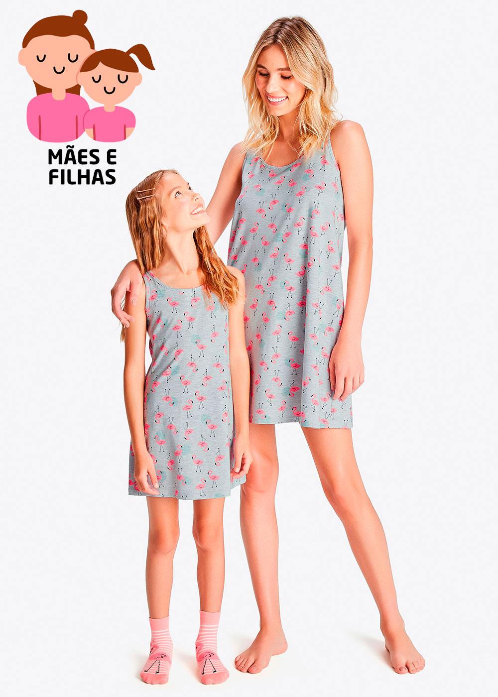 Camisola Curta Mãe e Filha Flamingos Cinza - Malwee