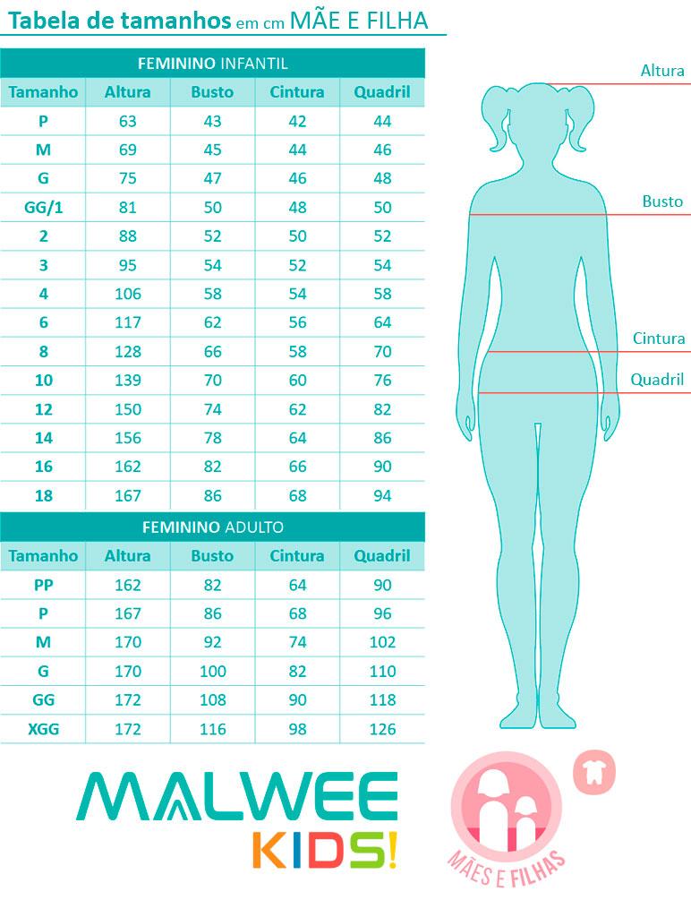 Camisola Curta Mãe e Filha Flamingos Cinza - Malwee: Tabela de medidas