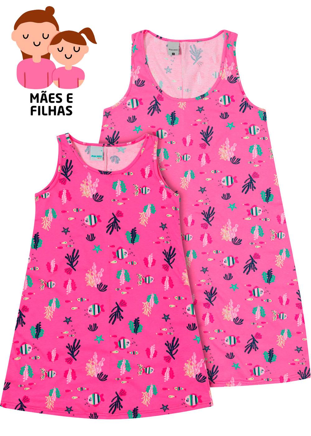 Camisola Curta Mãe e Filha Mar Rosa - Malwee