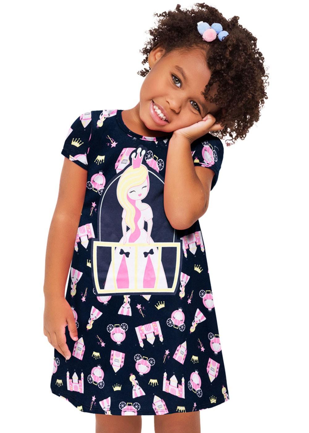 Camisola Infantil Azul Marinho Princess - Kyly