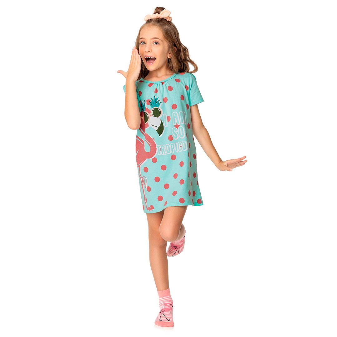 Camisola Infantil Feminina Curta Azul Flamingo Tropicool - Malwee