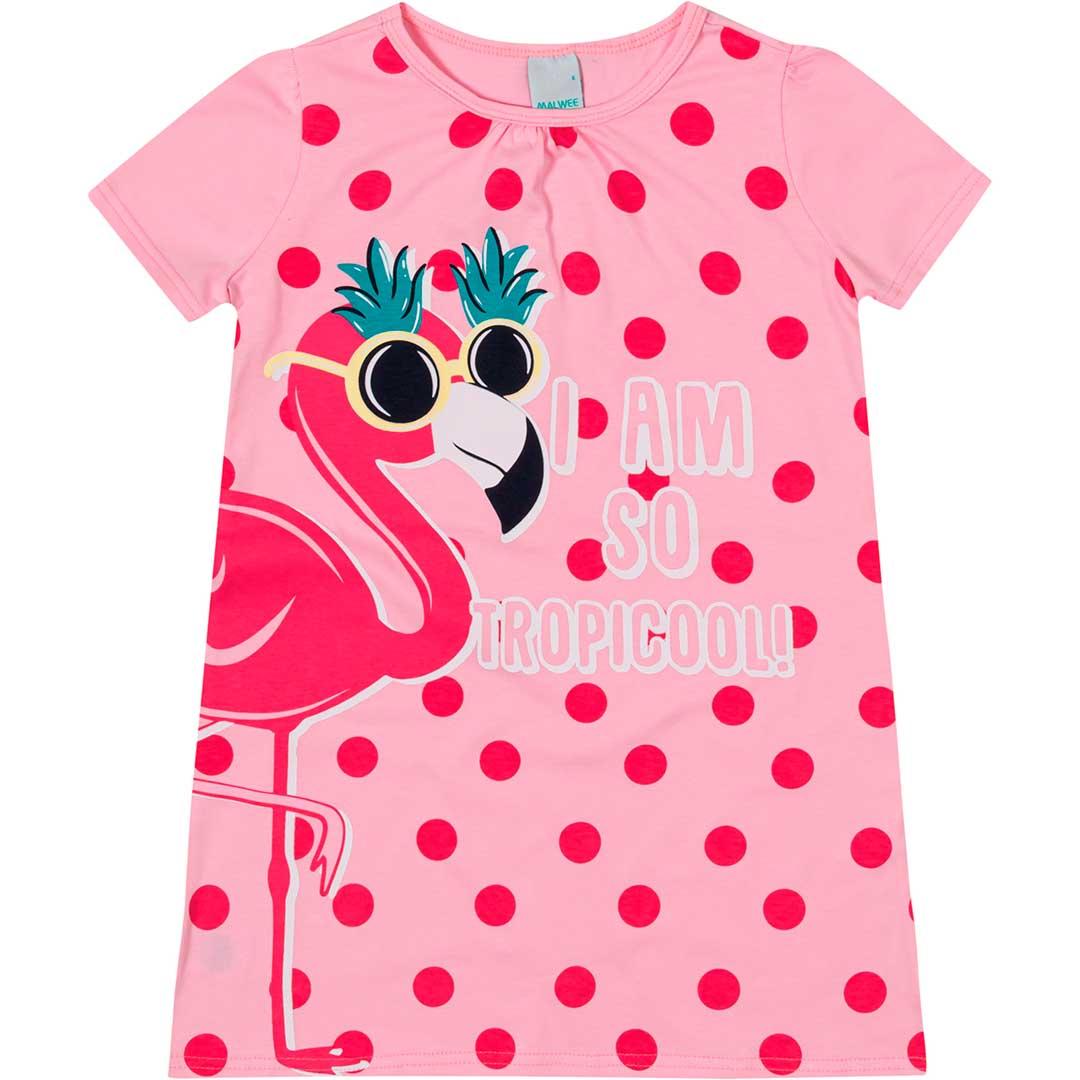 Camisola Infantil Feminina Curta Rosa  Flamingo Tropicool - Malwee