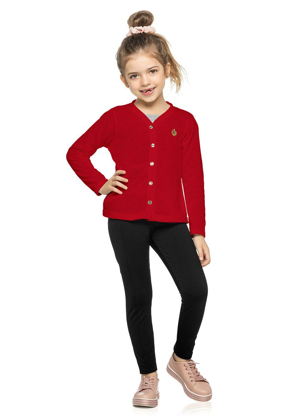 Cardigan Infantil Feminino Inverno Vermelho Tricô Elian