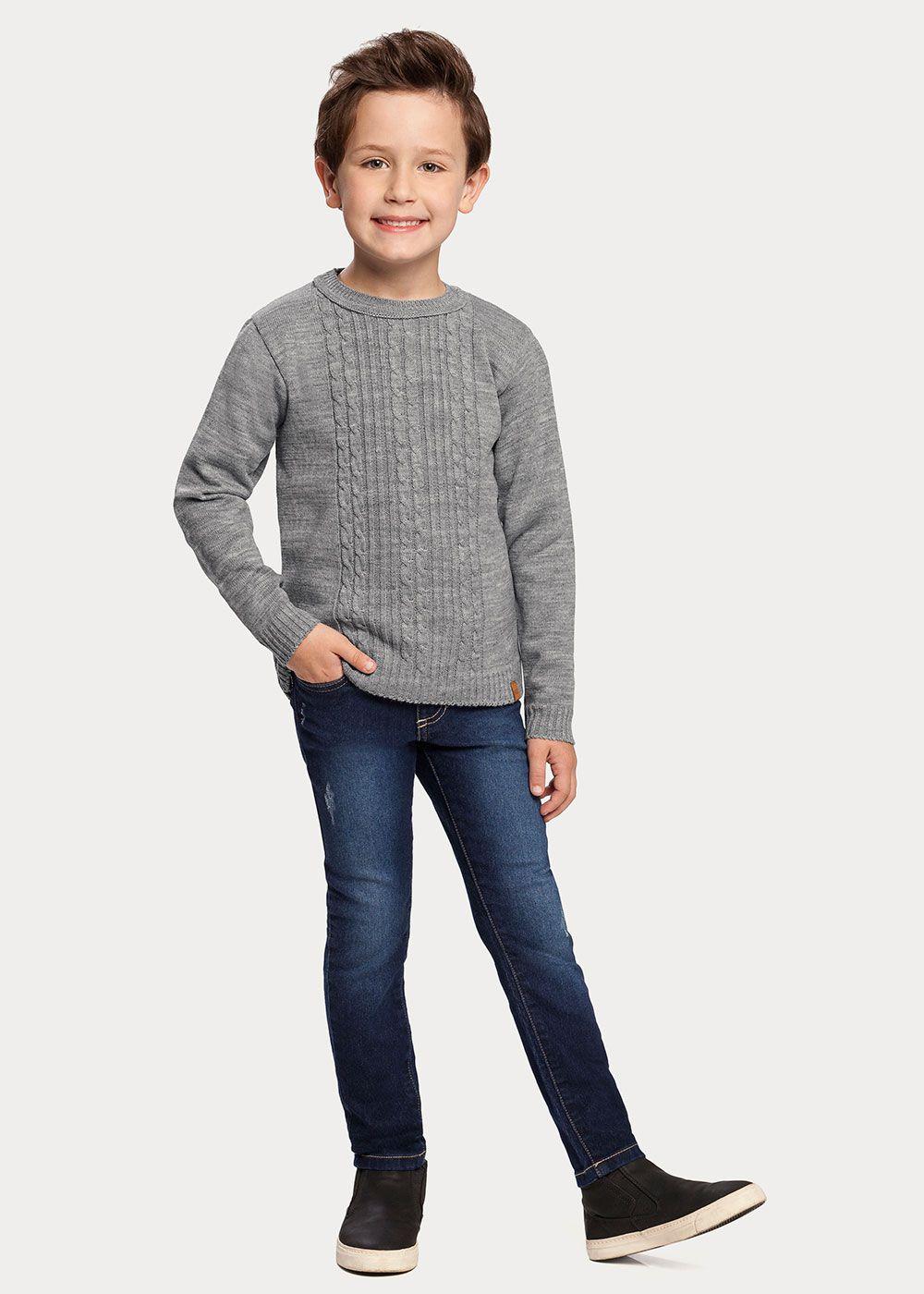 Cardigan Infantil Masculino Inverno Cinza Tricô Alakazoo