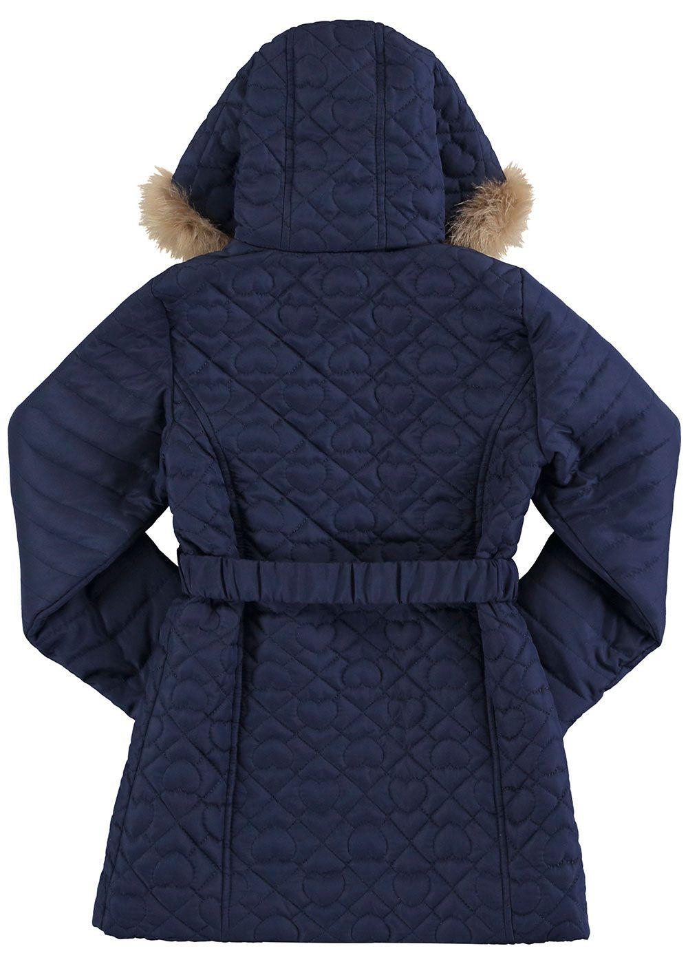 Casaco Infantil Feminino Inverno Azul Coração Alakazoo