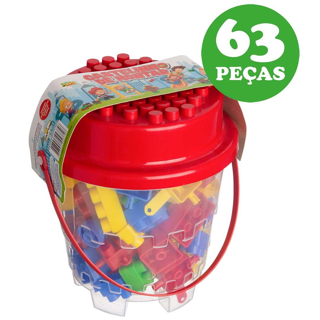 Castelinho de Montar 63 peças Infantil - Marbel: Tabela de medidas