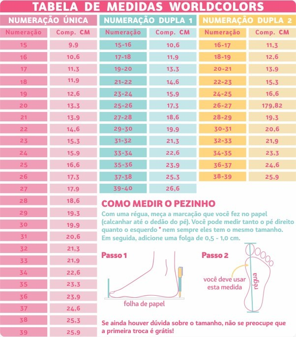 Chinelo Infantil Feminino Vermelho Cereja Pimpolho: Tabela de medidas