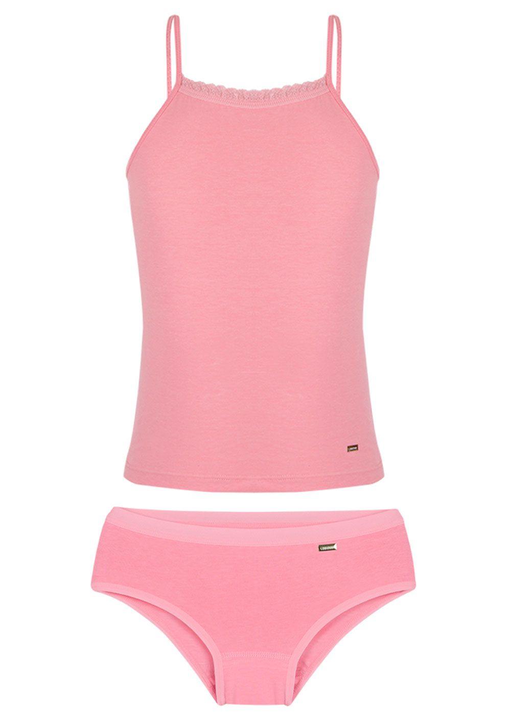 Conjunto Calcinha + Blusa De Alcinha Infantil Rosa Lupo
