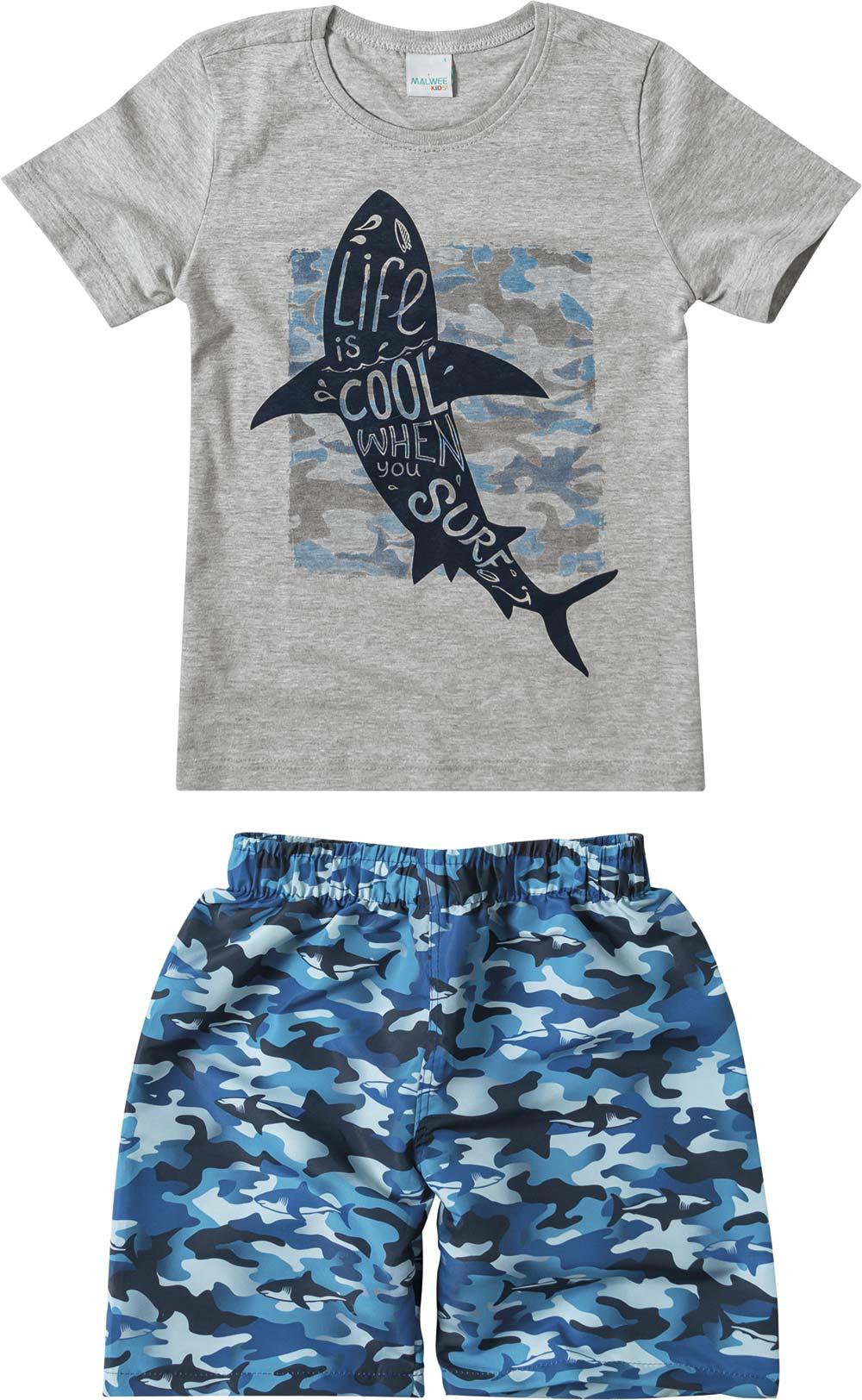 Conjunto Masculino Verão Cinza Shark Malwee