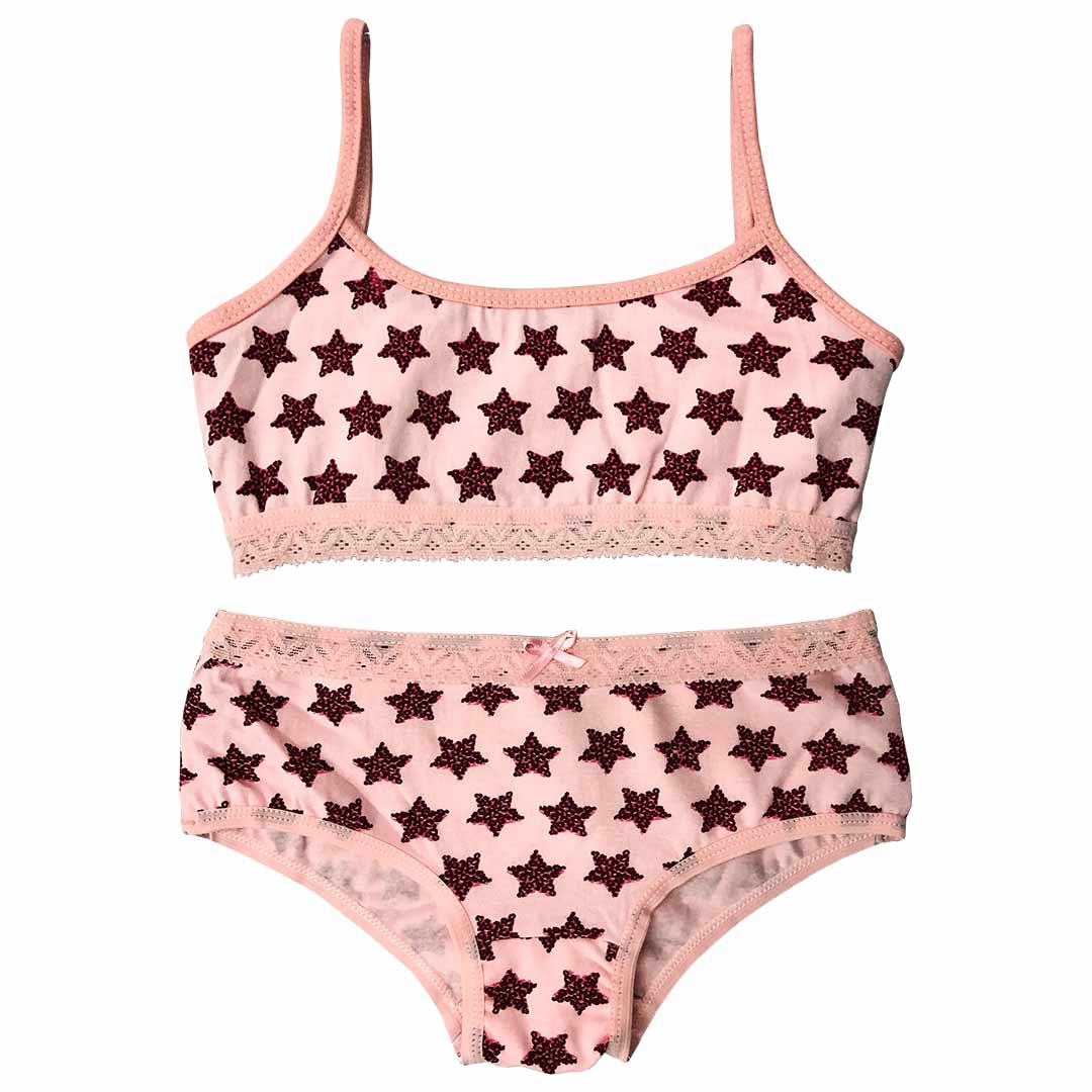 Conjunto de Top e Calcinha Estrelas Rosa - Tampinha