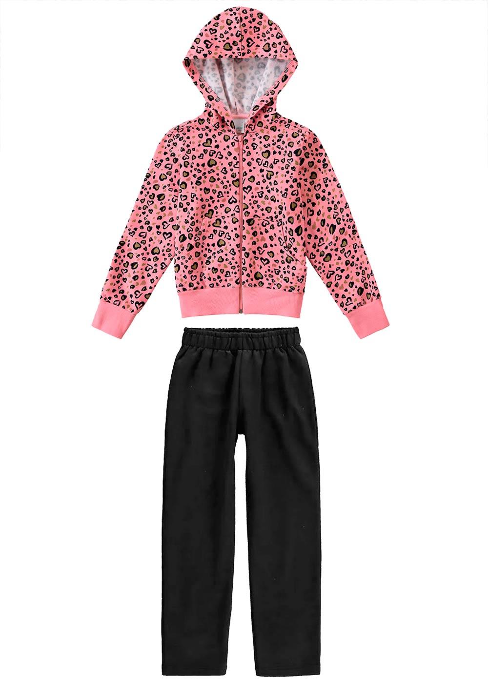 Conjunto Infantil Feminino Inverno Blusa e Calça Rosa Corações Malwee