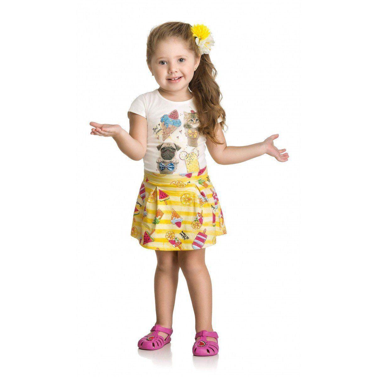 Conjunto Infantil Feminino Amarelo Sorvete Elian