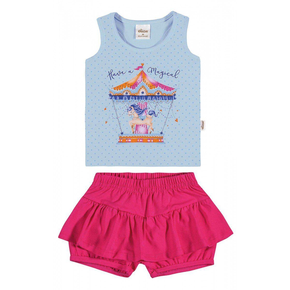 Conjunto Infantil Feminino Azul Carrossel Elian