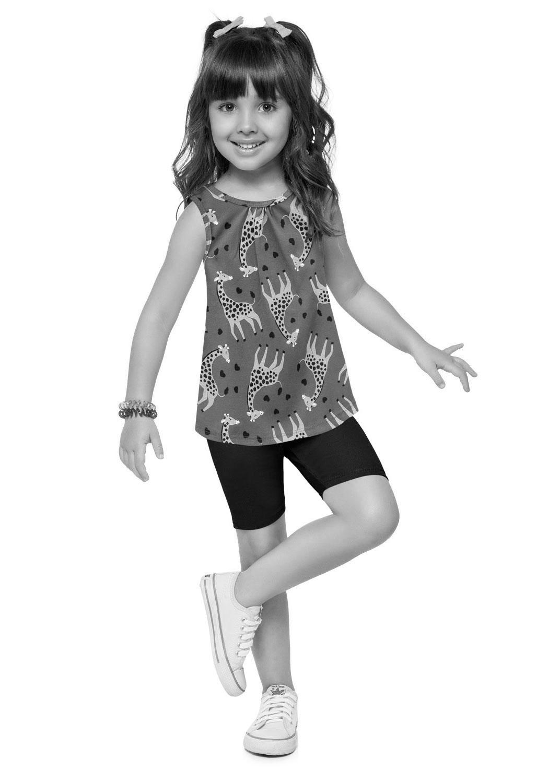 Conjunto Infantil Feminino Short e Camiseta Estampado Azul Marinho – Kyly: Tabela de medidas