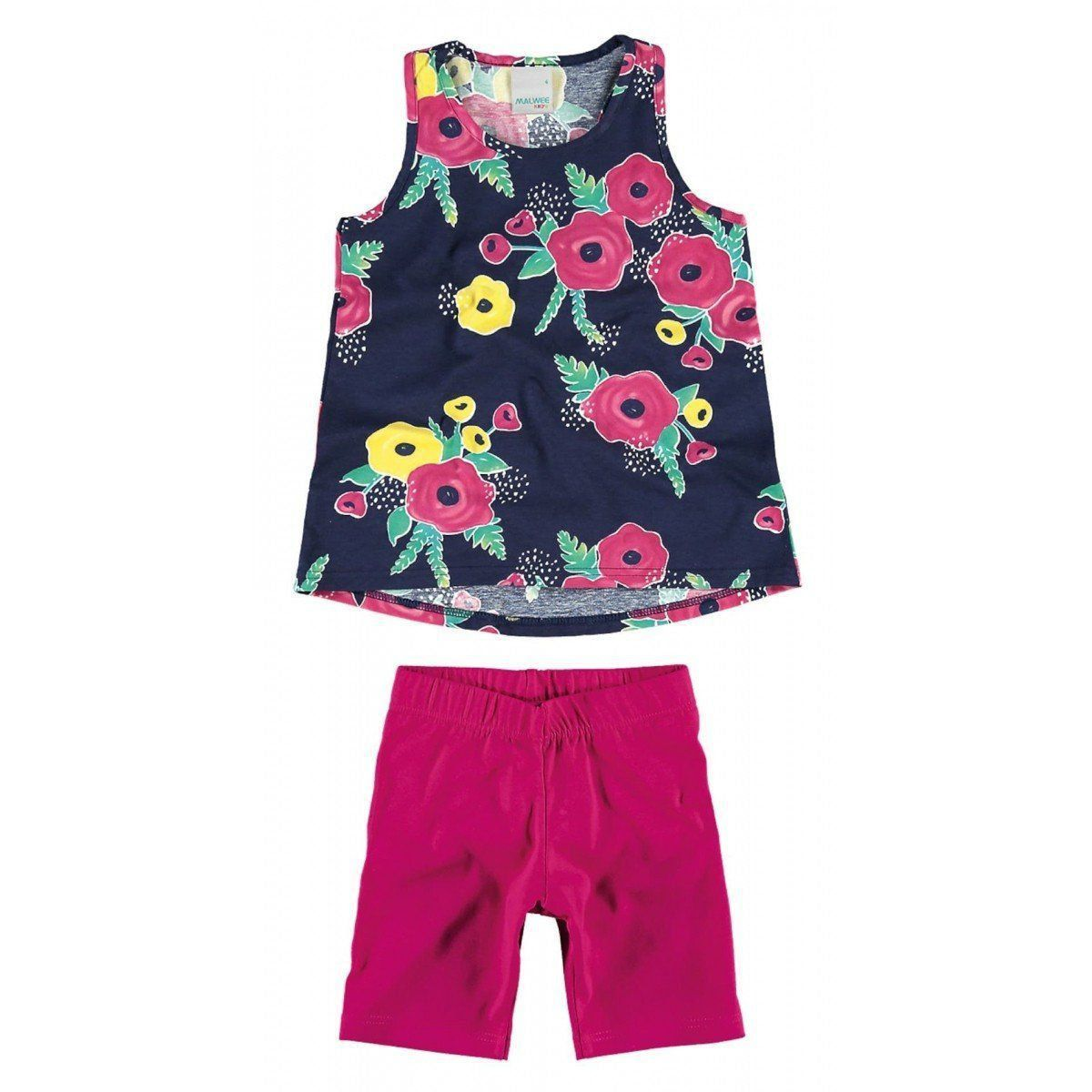 Conjunto Infantil Feminino Azul Marinho Floral Malwee