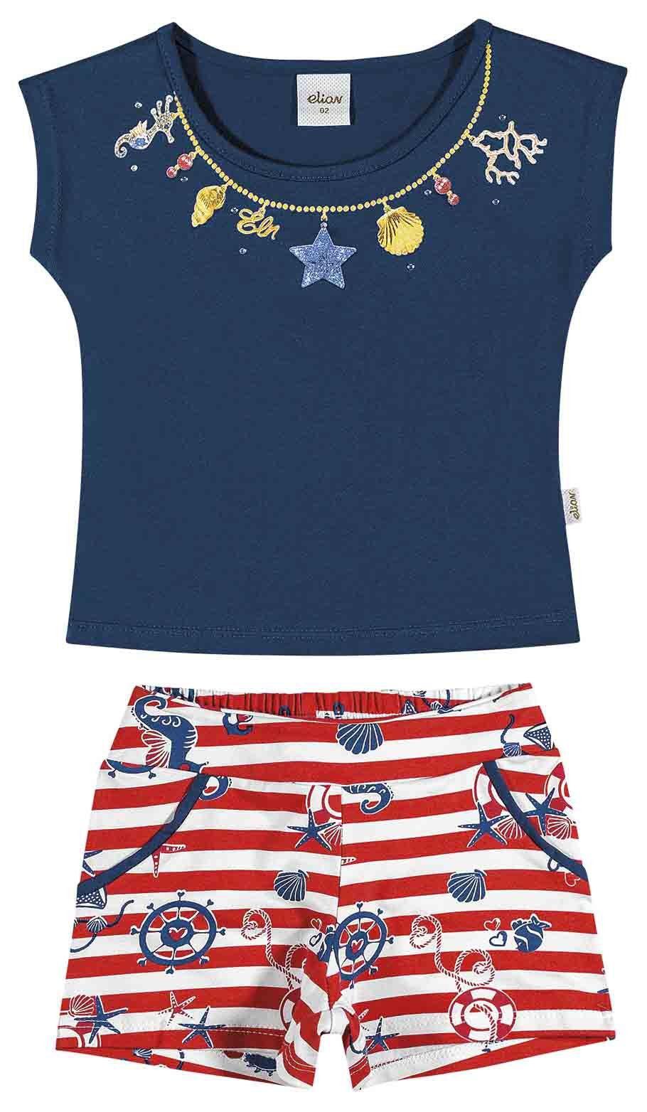 Conjunto Infantil Feminino Azul Marinho Navy Elian