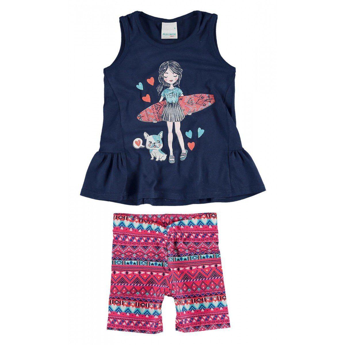 Conjunto Infantil Feminino Azul Marinho Surfista Malwee