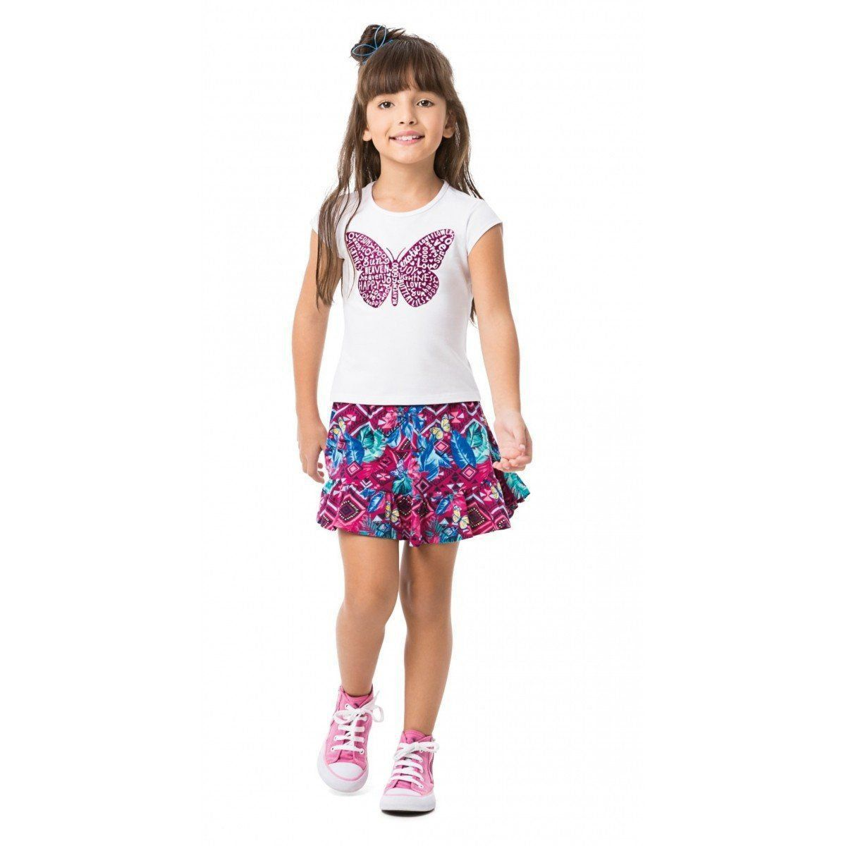 Conjunto Infantil Feminino Branca Borboleta Malwee