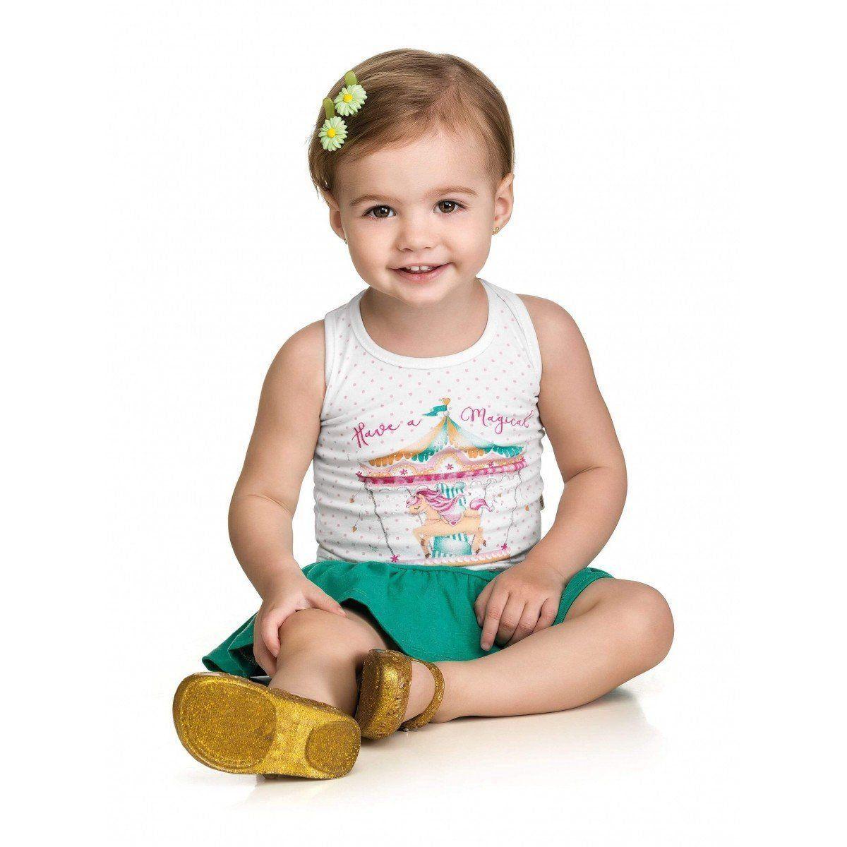 Conjunto Infantil Feminino Branco Carrossel Elian