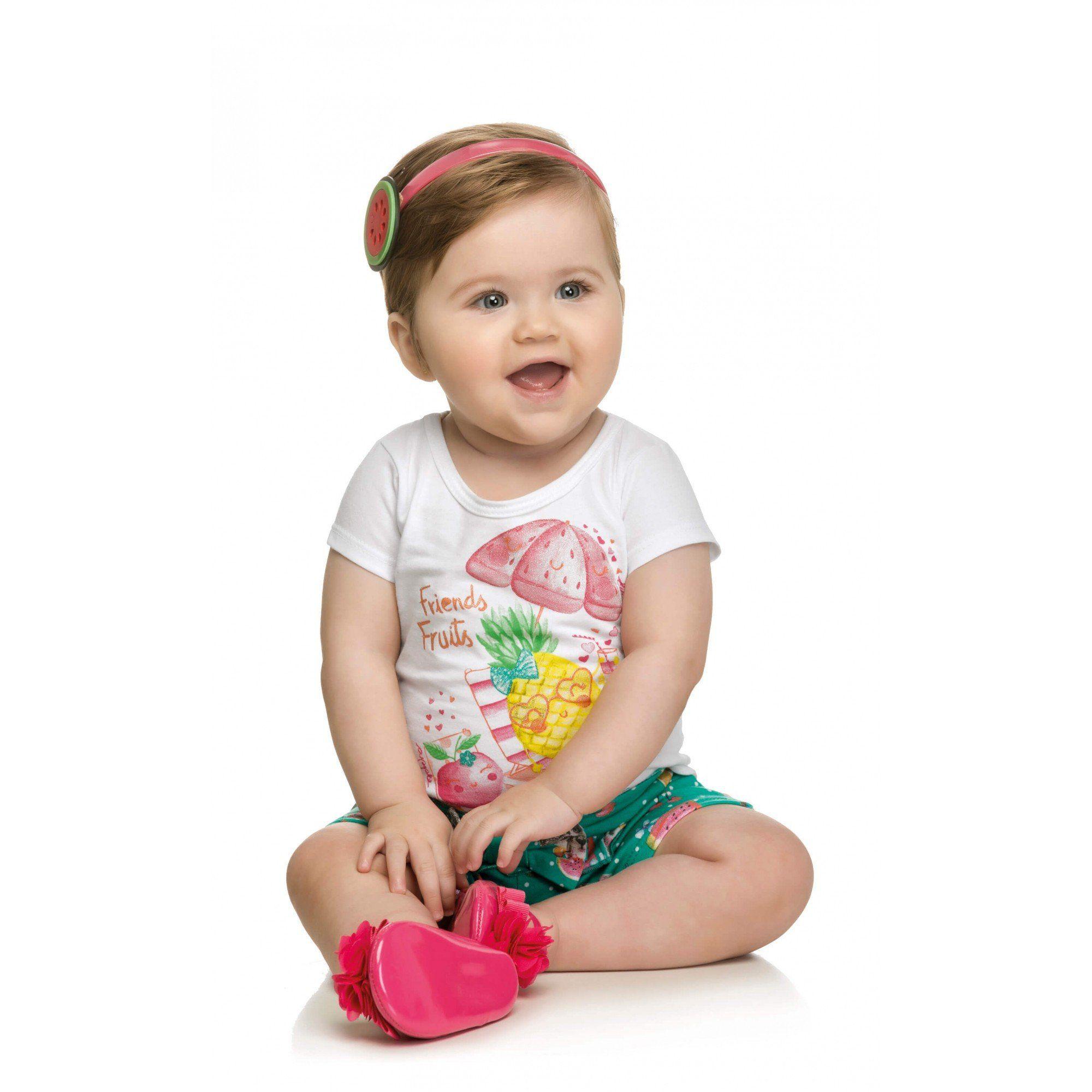 Conjunto Infantil Feminino Branco Friends Fruits Elian