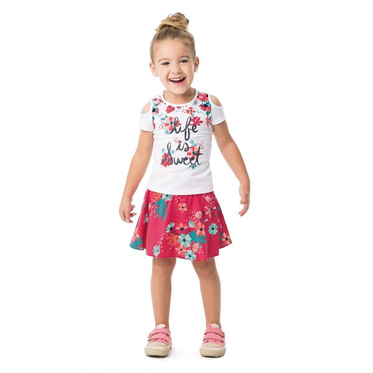 Conjunto Infantil Feminino Branco Life is Sweet Malwee
