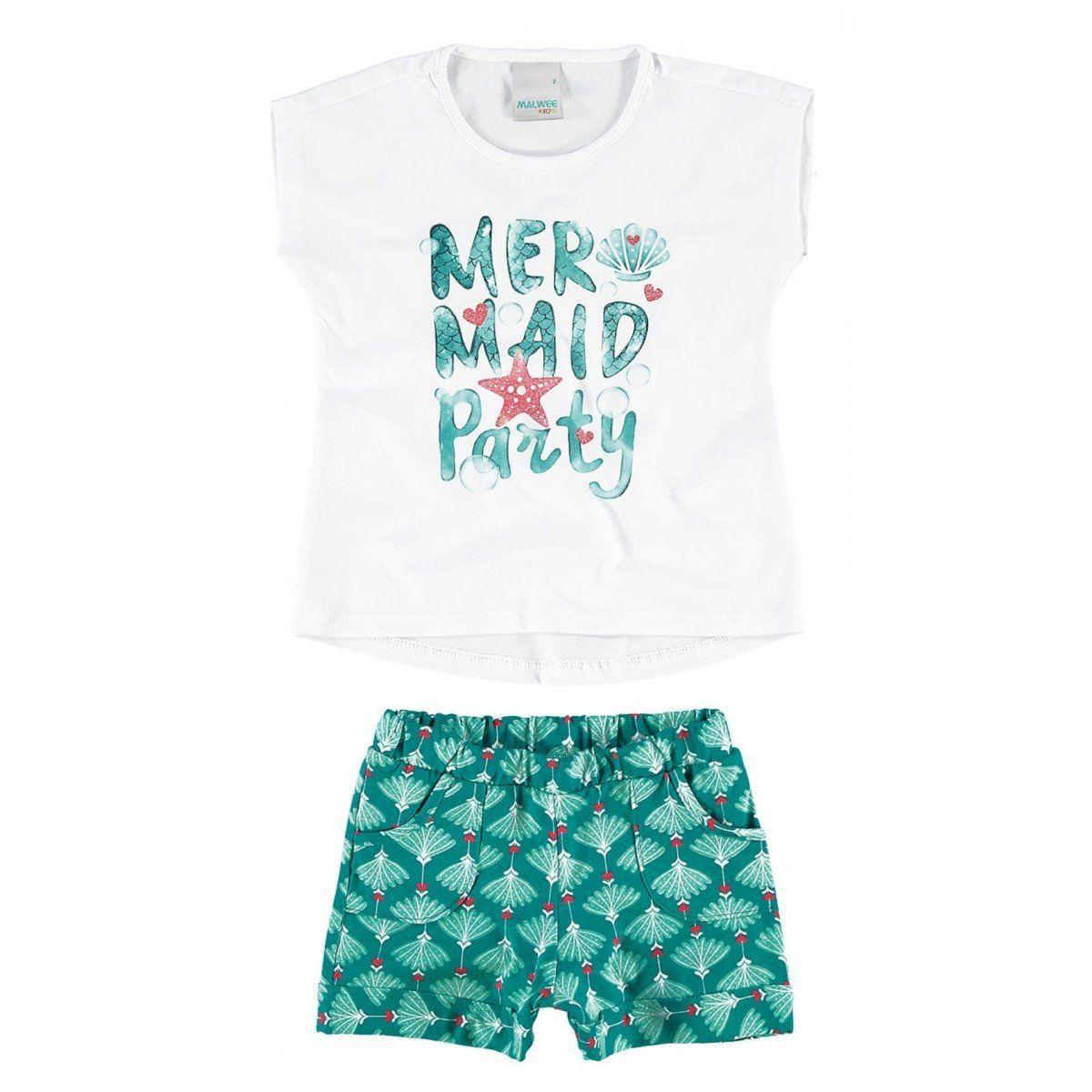 Conjunto Infantil Feminino Branco Mermaid Party Malwee